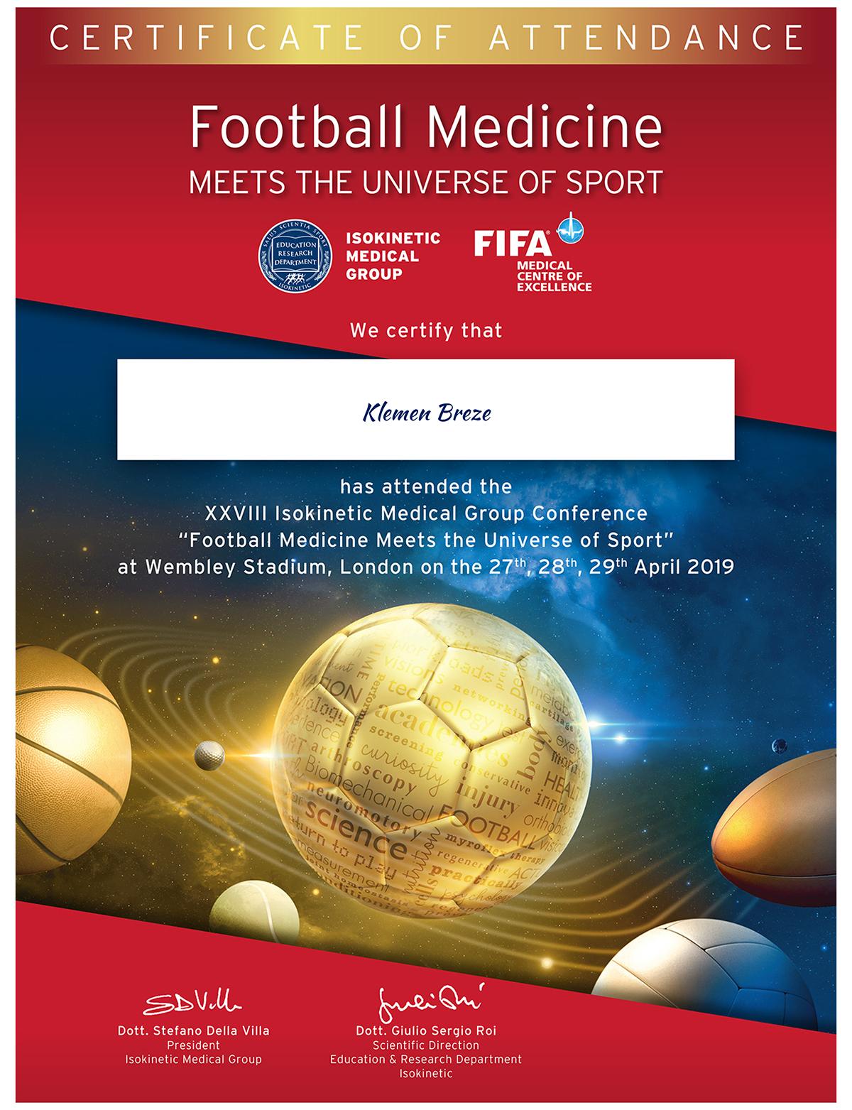 Football Medicine Certificate